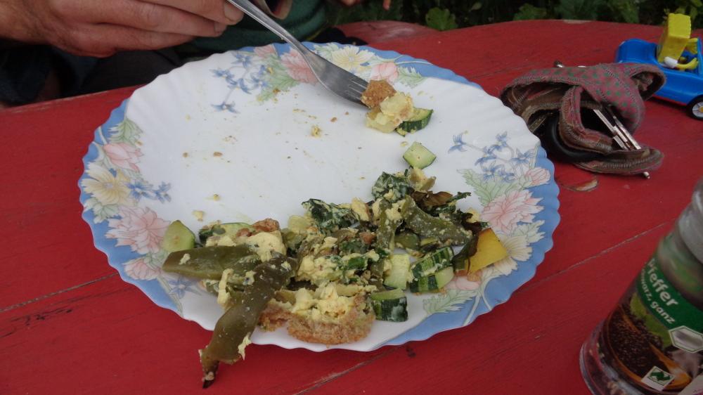 Gemüsetarte aus dem Garten – Halbgefressenes Stück Tarte