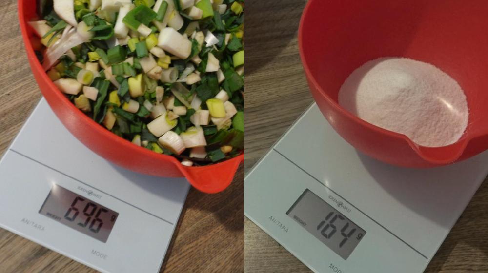 Suppengrün selbst machen - Verhältnis Gemüse Salz