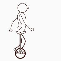 Ausgangsposition beim Einrad