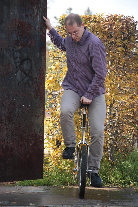 Einstieg auf dem Einrad